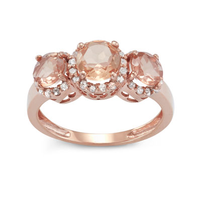 Simulated Morganite And 1/4  C.T. T.W. Diamond 10K Rose Gold Ring