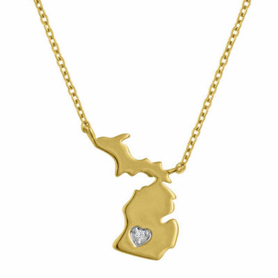 Diamond Accent 14K Yellow Gold over Silver Michigan Pendant Necklace