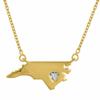 Diamond Accent 14K Yellow Gold over Silver North Carolina Pendant Necklace