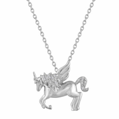 """Luck"" Womens Diamond Accent Genuine White Diamond Sterling Silver Animal Pendant Necklace"