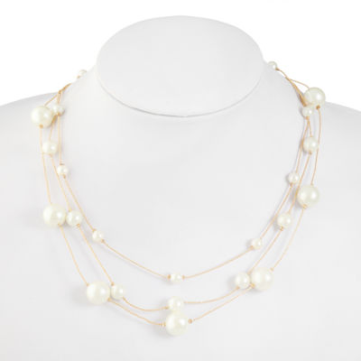 Monet Jewelry Womens White Simulated Pearl Illusion Necklace