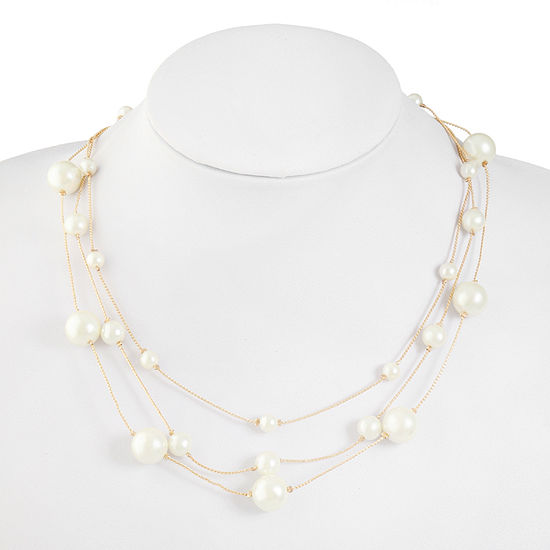 Monet Jewelry White Simulated Pearl 18 Inch Cable Illusion Necklace