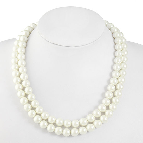 Monet Jewelry White Simulated Pearl 19 Inch Cable Collar Necklace