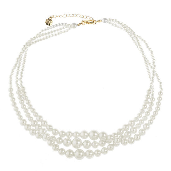 Monet Jewelry White Simulated Pearl 18 Inch Cable Collar Necklace
