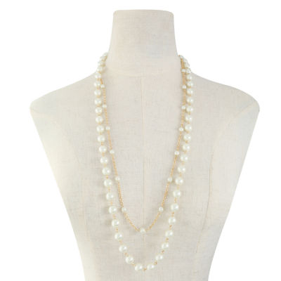 Monet Jewelry Womens White Simulated Pearl Strand Necklace