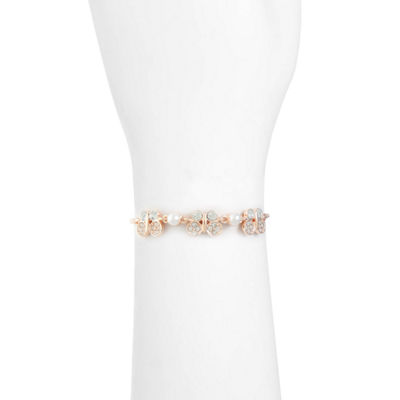 Monet Jewelry Simulated Pearl Rose Tone Butterfly Bolo Bracelet