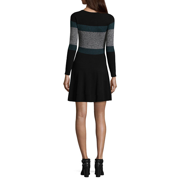by&by Embellished Long Sleeve Sweater Dress-Juniors