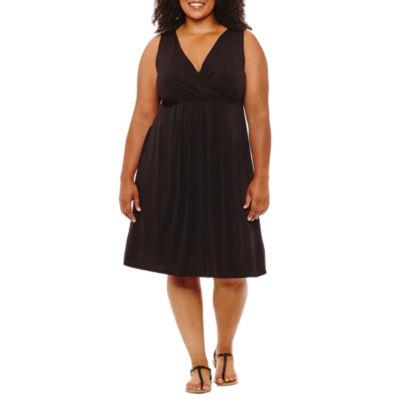 St. John's Bay Short Sleeve Shift Dress - Plus