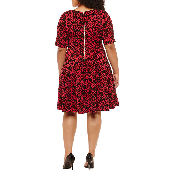 Danny & Nicole Elbow Sleeve Floral Fit & Flare Dress - Plus