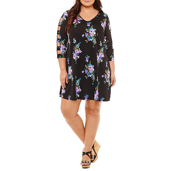Como Black 3/4 Sleeve Shift Dress-Plus