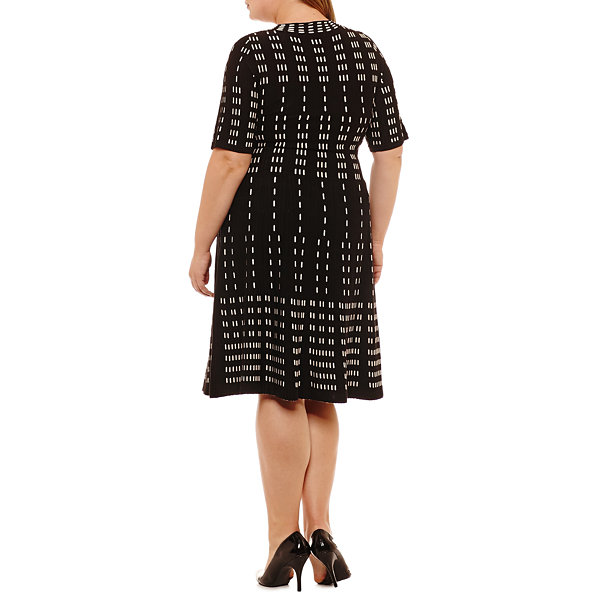 Danny & Nicole Elbow Sleeve Sweater Dress-Plus