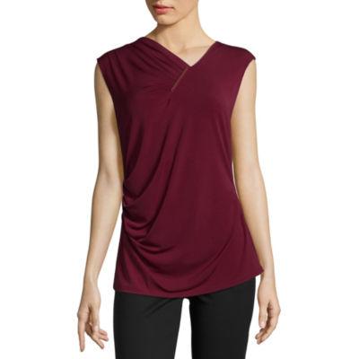 Liz Claiborne Short Sleeve Round Neck T-Shirt-Womens Talls