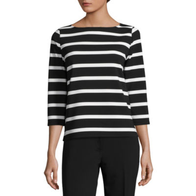 Liz Claiborne 3/4 Sleeve Round Neck Stripe T-Shirt-Womens Talls