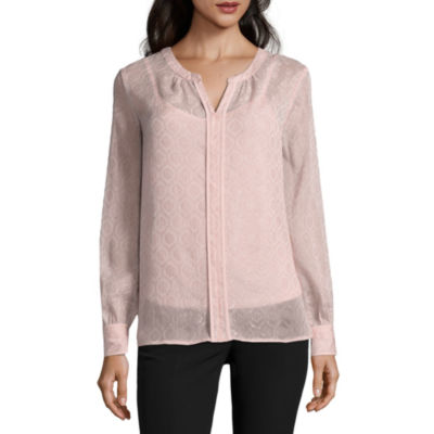 Liz Claiborne Long Sleeve Woven Blouse - Tall