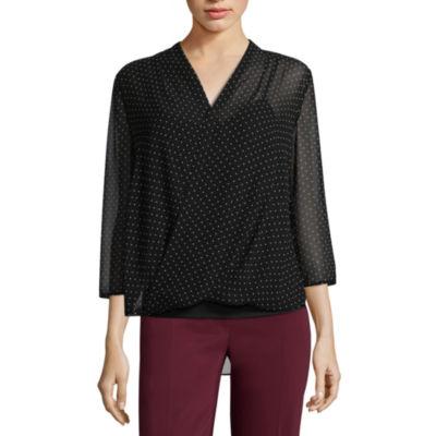 Liz Claiborne 3/4 Sleeve V Neck Woven Blouse - Tall