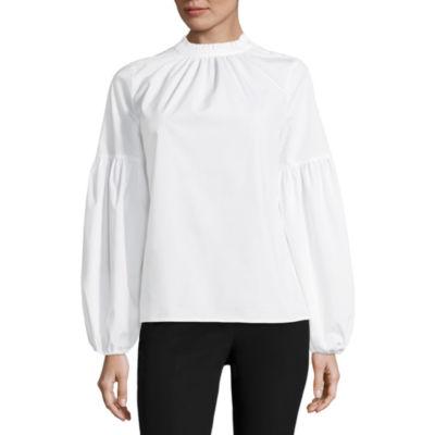Worthington Long Sleeve Woven Blouse-Talls