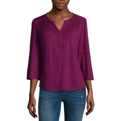 Liz Claiborne Long Sleeve Knit Blouse - Tall