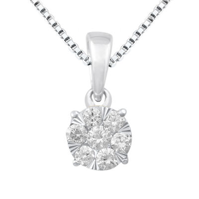 Diamond Blossom Womens 1/4 CT. T.W. Genuine White Diamond 10K Gold Pendant Necklace