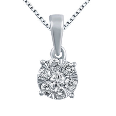 Diamond Blossom Womens 1/2 CT. T.W. Genuine White Diamond 10K Gold Pendant Necklace