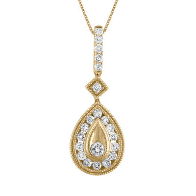 Womens 1/2 CT. T.W. Genuine White Diamond 14K Gold Pendant Necklace