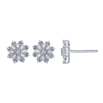 1/8 CT. T.W. Genuine White Diamond 10K Gold 9.5mm Stud Earrings