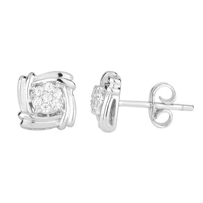 Diamond Blossom 1/7 CT. T.W. Genuine White Diamond 10K Gold 8.8mm Stud Earrings