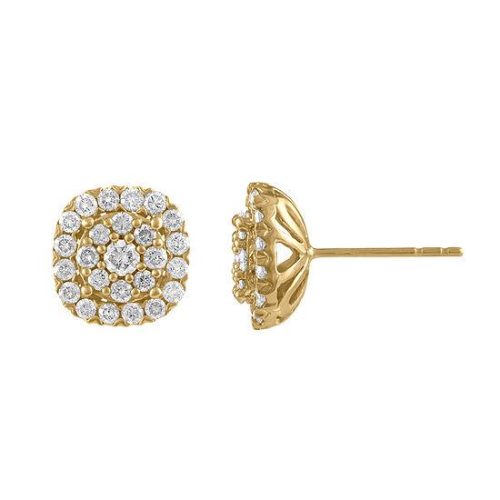 Diamond Blossom 1 CT. T.W. Genuine White Diamond 10K Gold 10.9mm Stud Earrings