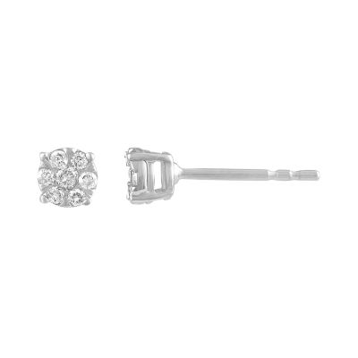 Diamond Blossom 1/8 CT. T.W. Round White Diamond 10K Gold Stud Earrings