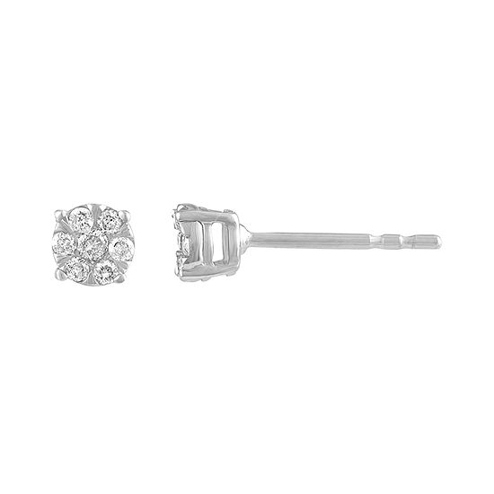 Diamond Blossom 1/8 CT. T.W. Genuine White Diamond 10K Gold 4.1mm Stud Earrings