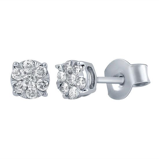 Diamond Blossom 1/4 CT. T.W. Genuine White Diamond 10K Gold 5.2mm Stud Earrings