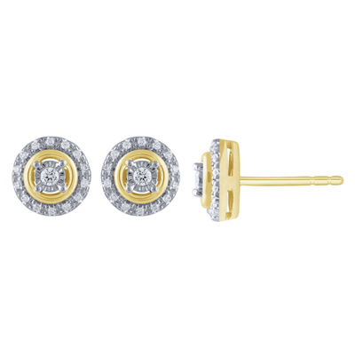 1/5 CT. T.W. Genuine White Diamond 10K Gold 8.7mm Stud Earrings