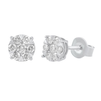 Diamond Blossom 1/2 CT. T.W. Genuine White Diamond 10K Gold 6.4mm Stud Earrings