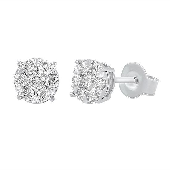 Diamond Blossom 1/2 CT. T.W. Genuine White Diamond 10K Gold 6.4mm Stud Earrings