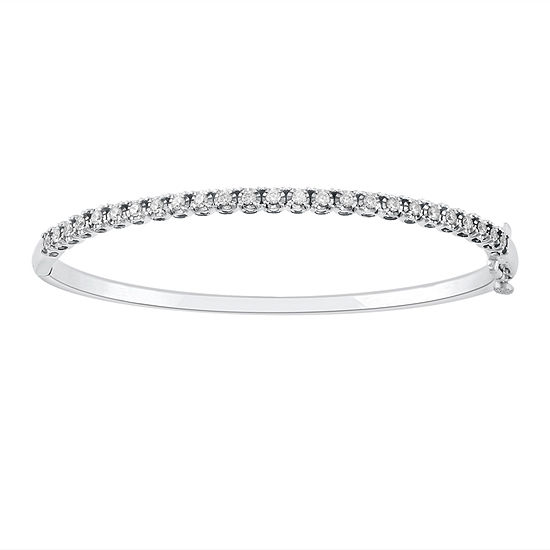 1 CT. T.W. Genuine White Diamond 10K Gold Bangle Bracelet