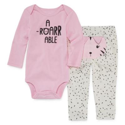 Okie Dokie 2-pc. Long Sleeve Bodysuit Set-Baby Girls