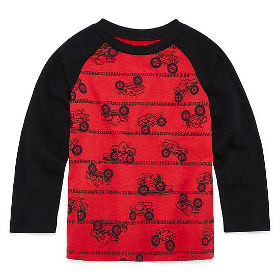 Okie Dokie Toddler Boys Crew Neck Long Sleeve Graphic T-Shirt