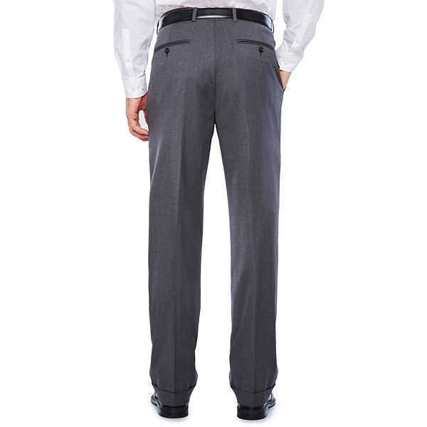 Stafford Medium Gray Travel Woven Pleated Suit Pants-Classic Fit