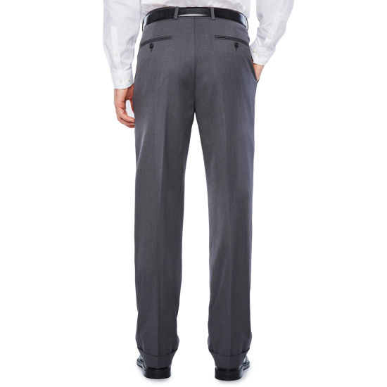 Stafford Medium Grey Travel Woven Pleated Suit Pants-Classic Fit