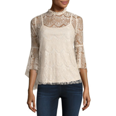 by&by Long Sleeve Mock Neck Crepe Lace Blouse-Juniors
