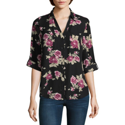 by&by 3/4 Sleeve Crepe Floral Blouse-Juniors