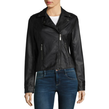 Jou Jou Faux Leather Moto Jacket-Juniors
