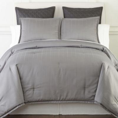 Royal Velvet Egyptian Cotton Damask Stripe 3-pc. Comforter Set