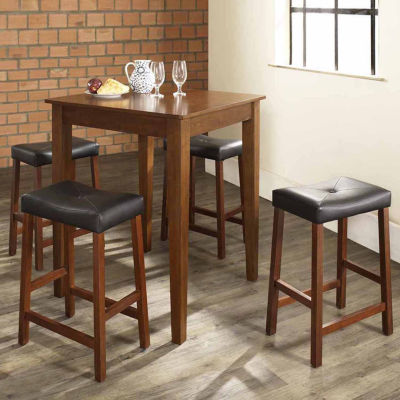 5 Pc. Pub Dining Set With Tapered Leg And Upholstered Saddle Stools