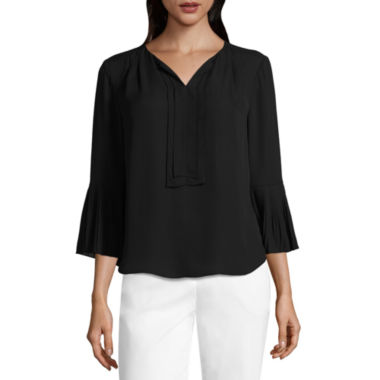 Liz Claiborne 3/4 Pleated Sleeve Split Neck Blouse