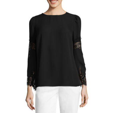 Liz Claiborne Lace Sleeve Scoop Neck Blouse