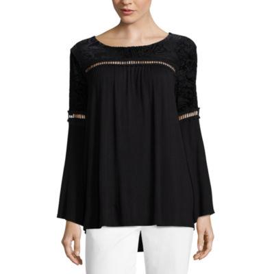 Liz Claiborne Long Sleeve Velvet Burnout T-Shirt - Womens