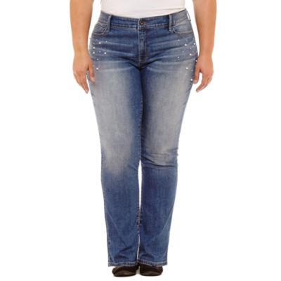 St. John's Bay Pearl Straight Leg Jean-Plus