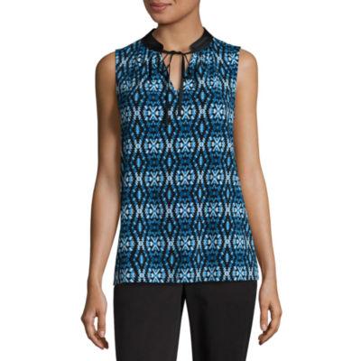 Worthington Sleeveless Tie Front Blouse