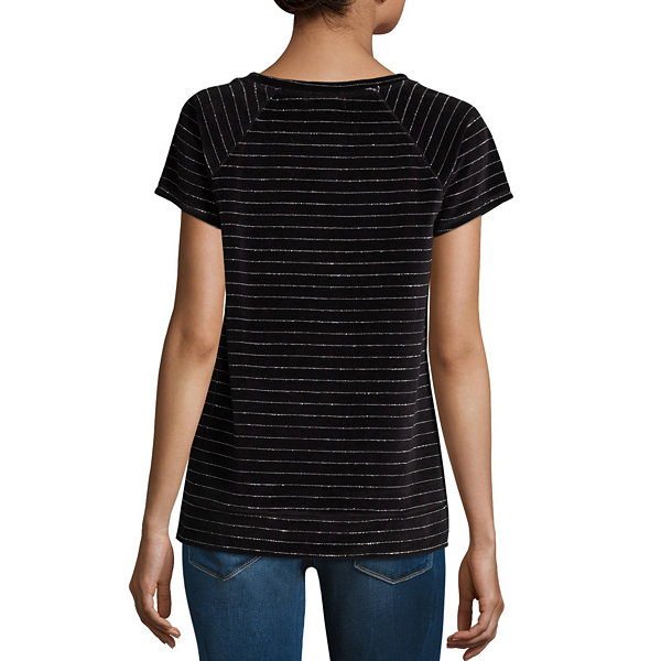 Liz Claiborne Short Sleeve Velour Sweatshirt