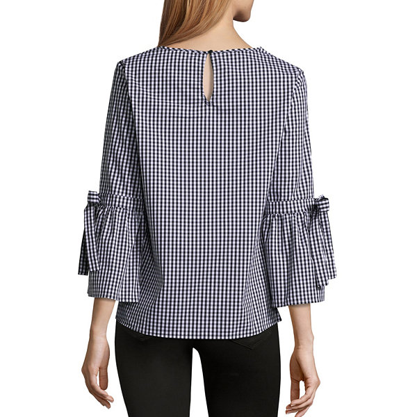 Liz Claiborne 3/4 Tie Sleeve Scoop Neck Woven Stripe Blouse